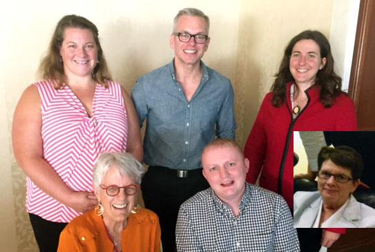 Seated- Peggy Chinn, Michael Johnson, Mary Foley (insert) Standing - Caitlin Stover, Ralph Klotzbaugh, Natalie Paul