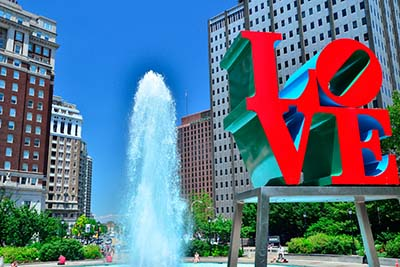 picture of Philadelphia with the word LOVE