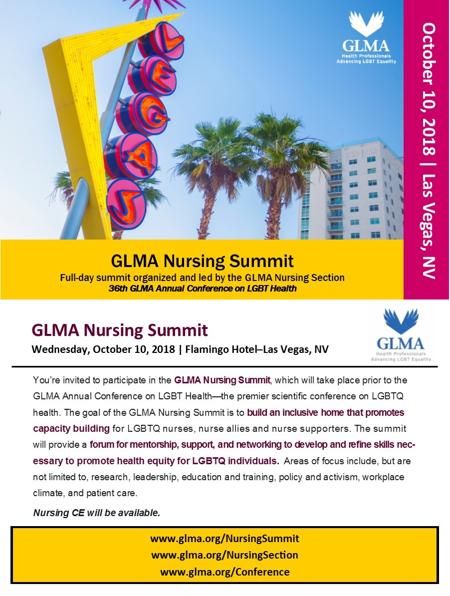 picture of a sign for Las Vegas with a caption underneath: GLMA Nursing Summit, Full-day summit organized and led by the GLMA Nursing Section, 36th GLMA Annual Conference on LGBT Health, Wednesday, October 10, 2018, Flamingo Hotel, Las Vegas Nevada